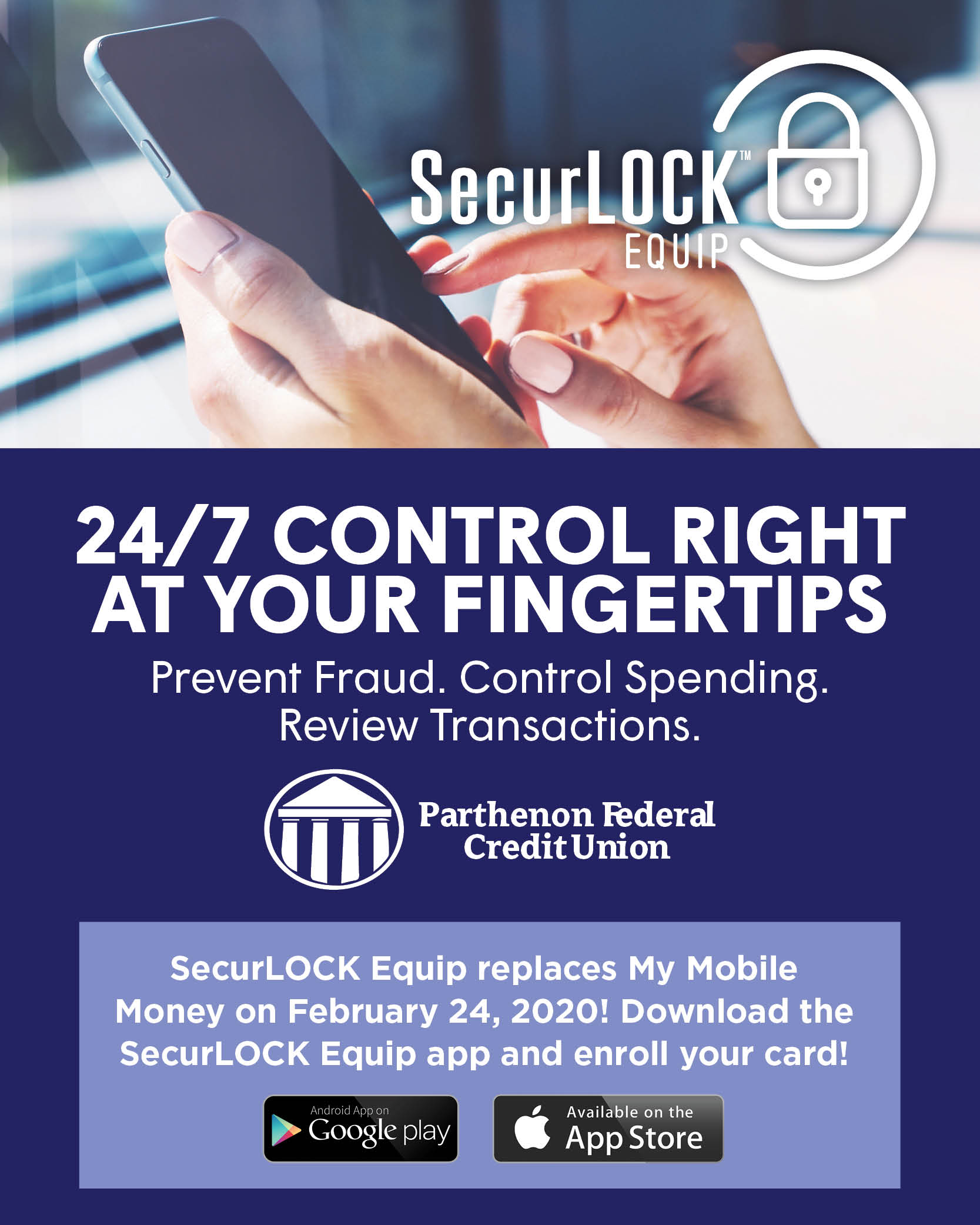 SecurLOCK Equip.  24/7 control at your fingertips.  Replaces My Mobile Money on February 24, 2020!  Download the SecurLOCK Equip app and enroll your card!